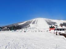 A alpine skiing resort  Sheregesh. The main mountain of a mounting skiing resort  Sheregesh. Russia Stock Photos