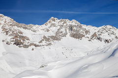 Alpine  skiing resort St. Anton am Arlberg. In winter time Royalty Free Stock Photography