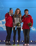 Alpine skiing slalom medal ceremony Royalty Free Stock Images