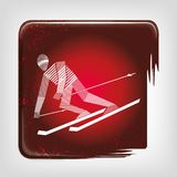 Alpine skiing stripy icon vector illustration