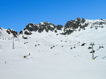 Alpine skiing. Skiing at the top of Alps. Austria Royalty Free Stock Photos