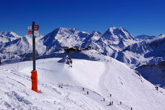 Alpine sky resort view. A panoramic view on a chain of alpine snow peaks with few building on top and a ski signpost Stock Images