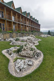 Alpine slides in front of newly built hotel, Carpathian mountains Royalty Free Stock Photos
