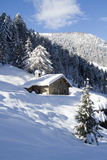 Alpine snow-covered hut. Alpine hut. Snow-covered house Stock Photos