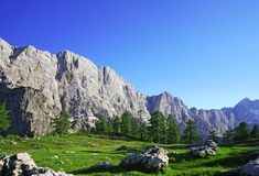 Alpine splendour. Alps vista with clear blue sky for your text. Taken in the Triglav National park in Slovenia Stock Photography