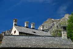 Alpine stone roofs. Alpe Devero, Italy Royalty Free Stock Image