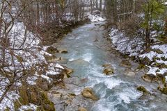 Alpine stream at winter time. Alpine stream seen in the Berchtesgadener Land in Bavaria, Germany, at winter time royalty free stock image