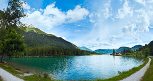 Alpine summer lake panorama Royalty Free Stock Image