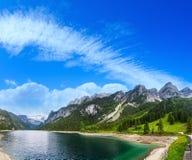 Alpine summer lake panorama. Royalty Free Stock Images