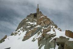 Alpine summit cable car station Aiguille du Midi M Stock Photos