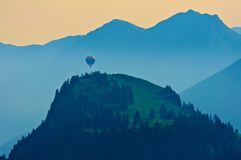 Alpine Sunrise in a hot air ballon Royalty Free Stock Photo