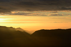 Alpine sunrise from the summit Royalty Free Stock Image