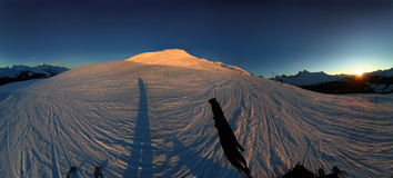 Alpine sunset 1. 270 degree panoramic image of the Swiss alps at sunset Royalty Free Stock Image