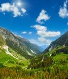 Alpine sunshiny view from Kaunertaler Gletscherstrasse Austria. Summer mountain  sunshiny view from Kaunertaler Gletscherstrasse Kaunertal, Austria, Tirol Stock Photo