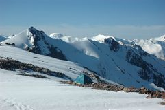 Alpine Tent In Mountains Royalty Free Stock Photography