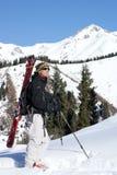 Alpine touring. Skier on the Chimbulak Royalty Free Stock Photo