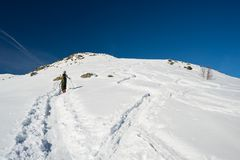 Alpine touring towards the summit Stock Image