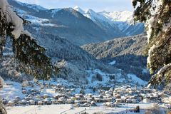 Alpine village of Bondo Sella Giudicarie, Trentino Alto Adige snow covered. Italy. royalty free stock photography