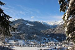 Alpine village of Bondo Sella Giudicarie, Trentino Alto Adige snow covered. Italy. royalty free stock image