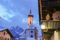Alpine town at dusk. Garmisch-Partenkirchen. Germany. Stock Photography