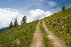 Alpine track. Environs of Brusson (val d'Aosta) in italian Alps royalty free stock image