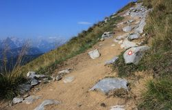 Alpine track with trail blaze. Alpine track with slovenian trail blaze, Karavanke, Slovenia - Austria border, Europe Royalty Free Stock Photos