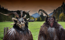Alpine traditional Krampus masks Royalty Free Stock Images