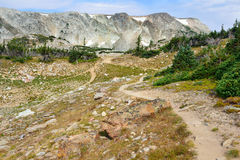 Alpine trail in Medicine Bow Mountains of Wyoming. In summer royalty free stock photos