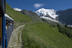Alpine train in france (tramway du mont blanc) Royalty Free Stock Photography