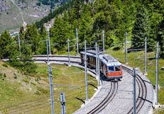 Alpine train in Switzerland, Zermatt Stock Images