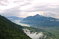 Alpine valley. Swiss valley in a picturesque landscape of mountains and lakes Royalty Free Stock Images