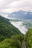 Alpine valley. Swiss valley in a picturesque landscape of mountains and lakes Stock Photo