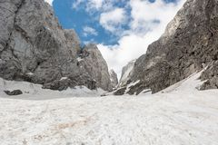 Alpine valley covered in spring snow Stock Image