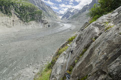 Alpine valley with huge glacier Royalty Free Stock Image