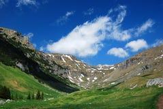 Alpine valley in Romania stock photo