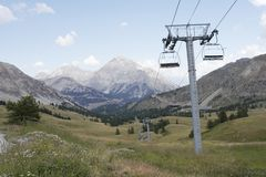 Alpine valley with ski lift Stock Image