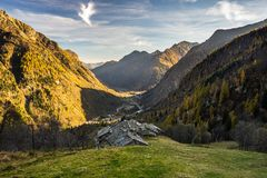 Alpine valley at sunset Stock Photography