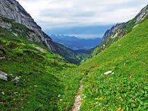 The Alpine Valley of Teselalp in the Alpstein mountain range. Canton of St. Gallen, Switzerland stock photos