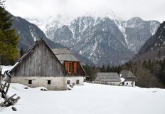 Alpine Valley Village in Winter Stock Image