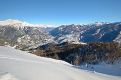 Alpine valley in winter Royalty Free Stock Images