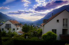 Alpine View. View from above Chur, Switzerland in the Alps stock photography
