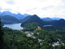 Alpine View and Castle Hohenschwangau Royalty Free Stock Photo