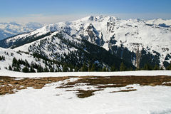 Alpine view of engaging fresh snow Stock Images