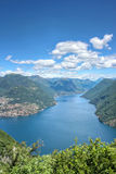 Alpine view of mountains at Lake Lugano Royalty Free Stock Photography