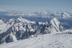Alpine view from top of Mont Blanc Stock Photos