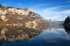 Alpine view of Walensee Lake in Switzerland Stock Photos