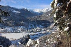 Alpine village of Bondo Sella Giudicarie, Trentino Alto Adige snow covered. Italy. stock images