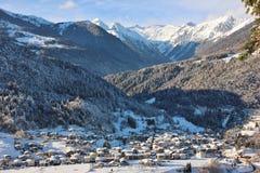 Alpine village of Bondo Sella Giudicarie, Trentino Alto Adige snow covered. Italy. royalty free stock photo