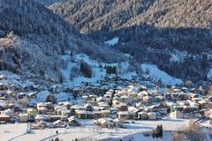 Alpine village of Bondo Sella Giudicarie, Trentino Alto Adige snow covered. Italy. royalty free stock photos