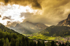 Alpine village in Dolomites Stock Image
